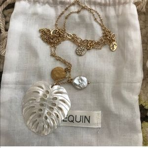Jewelry - SEQUIN mother of pearl palm leaf necklace